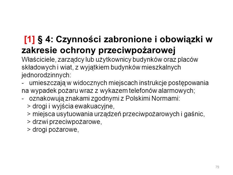 [1] § 4: Czynności zabronione i obowiązki w zakresie ochrony przeciwpożarowej Właściciele, zarządcy lub użytkownicy budynków oraz placów składowych i wiat, z wyjątkiem budynków mieszkalnych jednorodzinnych: - umieszczają w widocznych miejscach instrukcje postępowania na wypadek pożaru wraz z wykazem telefonów alarmowych; - oznakowują znakami zgodnymi z Polskimi Normami: > drogi i wyjścia ewakuacyjne, > miejsca usytuowania urządzeń przeciwpożarowych i gaśnic, > drzwi przeciwpożarowe, > drogi pożarowe,